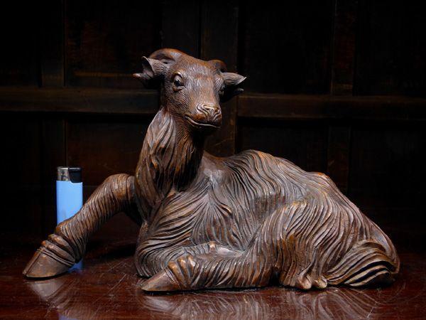 黄杨木 木雕 山羊 约30cm/床置