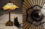 【猫pm】アンティーク 古い ガラス テーブル ライト 58cm ランプ