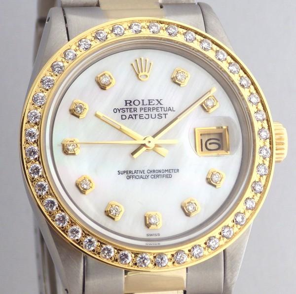 極美品 ロレックス デイトジャスト 白MOP 10Pダイヤ OH済 ROLEX