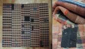 南部裂織 時代織物 古布 継ぎ接ぎ 刺子 襤褸ぼろ 裏付敷物ラグ