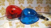 パトライト製流線型回転灯【赤・青】12Vハロゲン球仕様中古