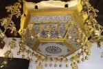 日蓮宗寺院より最後の逸品! 六角菱灯籠 幅134cm/真鍮製天蓋金箔