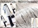 冬日本製 大人 Aライン ミックスツイードデザインワンピース 黒L