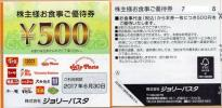 ジョリーパスタ株主優待券  10,000円分  送料込