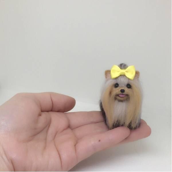 羊毛フェルト ヨークシャテリア ミニチュア ブライス ペット 犬