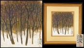 《SX》日展画家 斎藤清策肉筆「林風景」日本画色紙額 真筆保証
