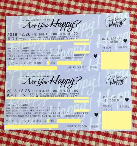 嵐 12/26 (月) 東京ドーム【スタンド1階 24ゲート】2枚連番ペア