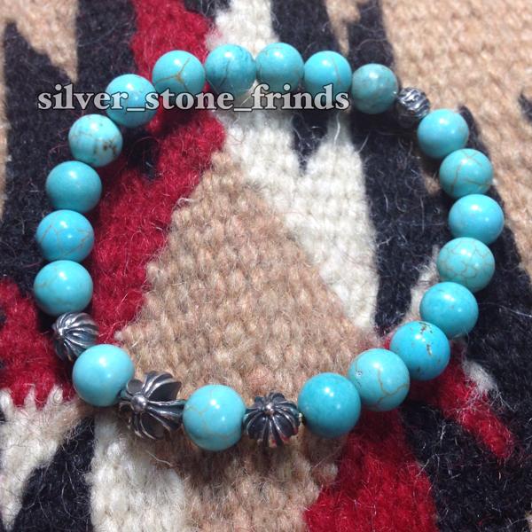 クロムハーツtypeシルバー925 ターコイズビーズ数珠ブレスレット