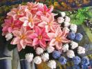 ♪ 花モチーフ シュシュ ♪ プリンセチア&ブルーベリー ☆