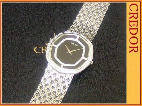 ◆セイコークレドール◆18Kホワイトゴールド 無垢&ダイヤモンド 116個◆メンズウォッチ腕時計
