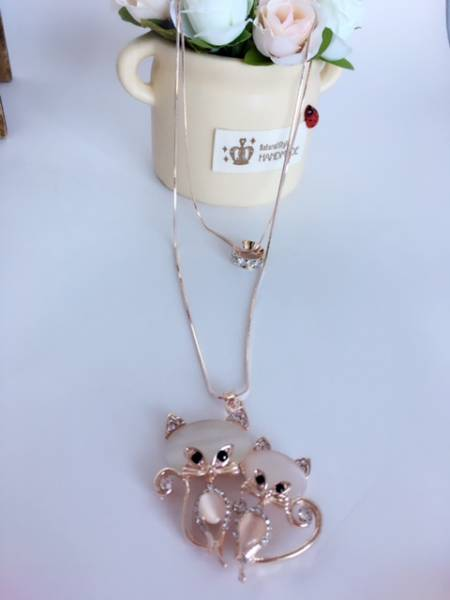 新品 送料無料 合金 ネックレス 猫 リング 二重 ピンクゴールド_画像1