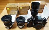 ニコンF3アイレベルとAi-S 28mm、55mm、105mmレンズ3本