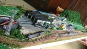 Nゲージ蒸気機関車夜景付き懐かしのレイアウトジオラマ分割式