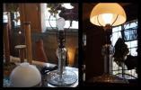 电器制品 - 大正ロマン 珍品 ガラス電気スタンド 切子ハンドカット 照明