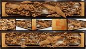 ◆国見◆越中井波彫刻 花嶋一作刀 細密木彫 鳳凰文 飾り欄間一対
