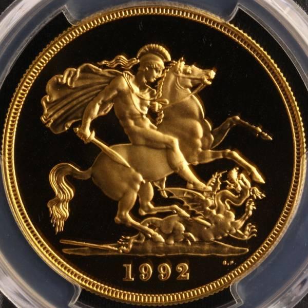 特年号 イギリス 1992 ミドルエリザベス 5ポンド 金貨 PR70DCAM_画像2