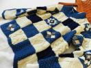 新品★手編み棒針編みパッチワーク風アラン柄ウールセーターM