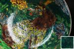 【航】旧家初だし 時代 九谷焼 古九谷 青手九谷 若杉窯 獅子文 大鉢 飾鉢 置物 時代箱 初荷 骨董 古玩 古美術品 古道具