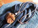 新品国産山葡萄ネックレス*籠アケビ襤褸消防刺し子柿渋酒袋古布