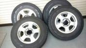 激安 中古スタットレス タイヤ ホイールセット 195/80R15 4本ハイエース6穴