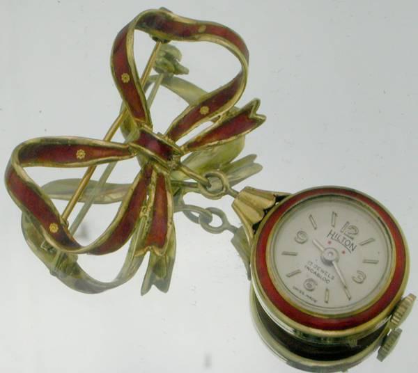 エナメル装飾ブロ-チ付18K金無垢ペンダント
