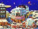 ヒロ・ヤマガタ 大型版画 パリ風景 街 冬 雪 直筆サイン入 限定 250部 シルクスクリーン スノーキャッスル バルーン 車 雪祭り 風景画 絵画