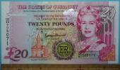 世界の紙幣【エリザベス二世即位記念紙幣・英領・ガンジー島】20ポンド 未使用