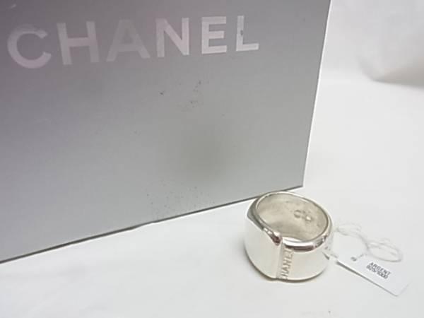☆CHANEL シャネル SV925 シルバー ロゴ 幅広 指輪 リング 箱付☆