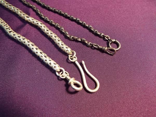 懐中時計 鎖 2本 シルバー 鉄