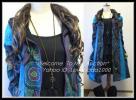 ◆3L*暖か裏フリース*パッチ&刺繍エスニックコート青2213