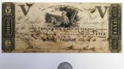 アメリカ紙幣 OWL CREEK BANK of MOUNTVERNON OHIO 5 美品