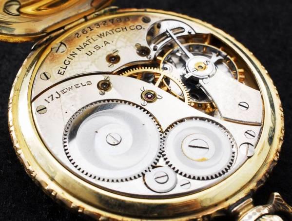 エルジン 八角文字盤 アールデコ 金張 懐中時計 1923年 美品_画像3