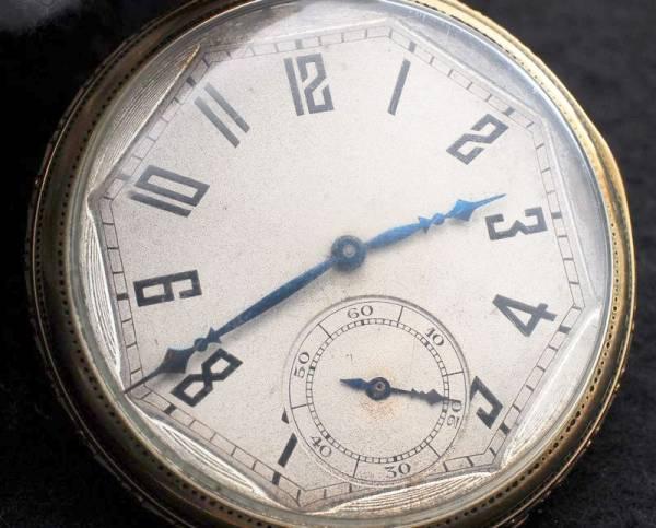 エルジン 八角文字盤 アールデコ 金張 懐中時計 1923年 美品