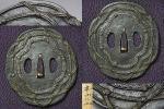 収集家放出②江戸時代【信玄鍔】鉄地素銅真鍮縄目文図象嵌鍔