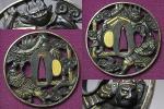 収集家放出⑦赤銅地『渡辺綱羅城門図』高彫地透金象嵌色絵鍔