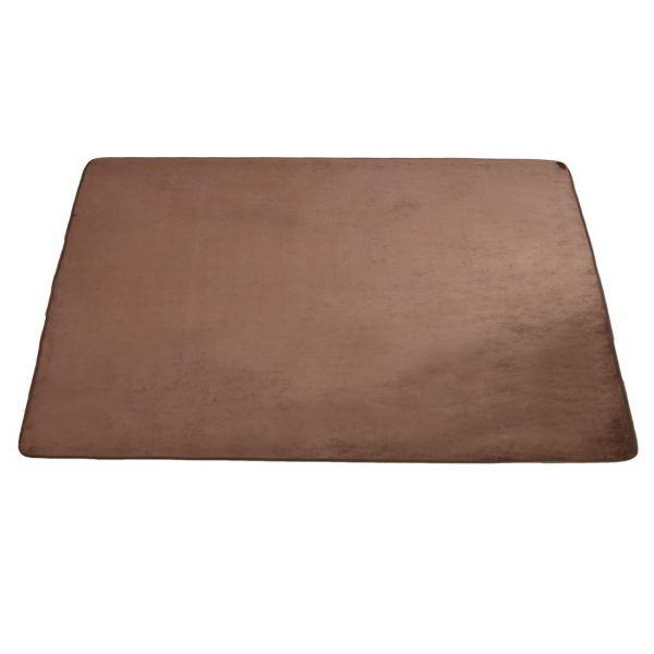フランネルラグ 130×185cm(約1.5畳) 防ダニ 洗える 滑り止め付 ホットカーペット対応 ブラウン AM 000057 BR
