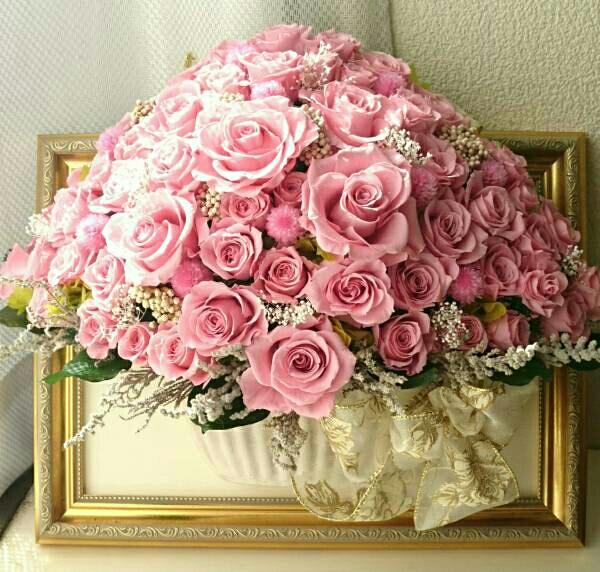 ◆◇~新色♪ピンクバニラの合計55輪/額仕立て~◆◇