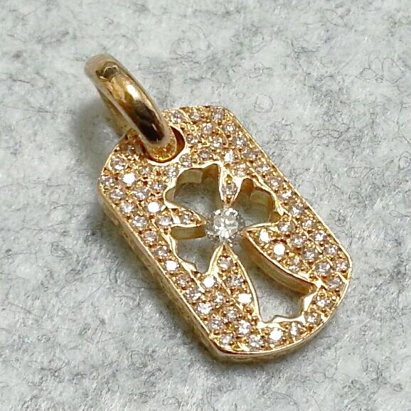 カットアウトクロスチャーム 22K フルダイヤモンドパヴェ クロムハーツ ChromeHearts ゴールド ネックレス cutout 美品