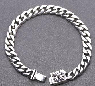 449 人気 純銀使用 925 クロムハーツ風 ブレスレット スターリングシルバー メンズ チェーン 十字架 クロス モチーフ
