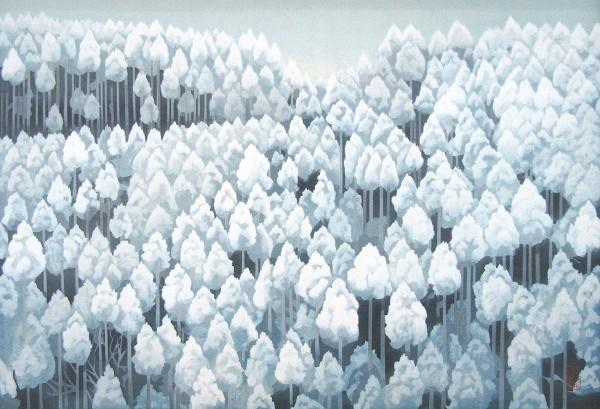 东山魁夷 『 北山初雪 』 木版画 风景画 额付