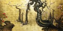 漆絵 狩野山雪 「老梅図」 絵画制作専門店ユーラシアアート