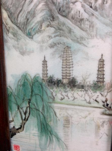 石板云南省风景 手描き石版屏风 中国 0823n2g