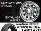 TSWデイトナクローム 16×6H 215/65 GOODYEARナスカータイヤset