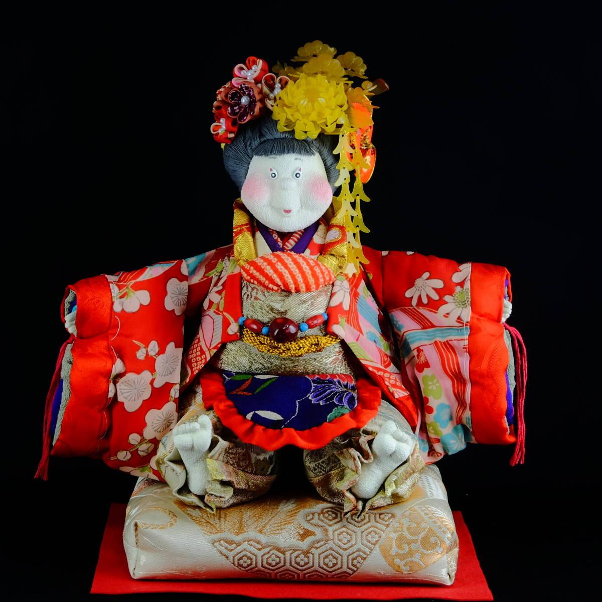 [昔々大松屋の創作人形] ほんわか姫 (検索用/ぶす姫 古布 縮緬 ちりめん 日本人形 かんざし ひな人形 雛 つまみ細工 ジュサブロ 市松人形)