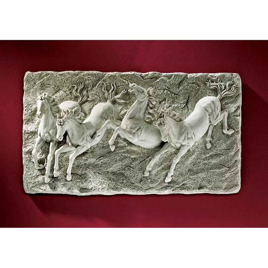 雷で狂乱し走る野生馬の浮き彫り彫刻 壁掛け西洋彫刻ウォールデコレリーフ芸術作品洋風ホームデコ調度品飾り装飾品壁飾りインテリア置物_画像1