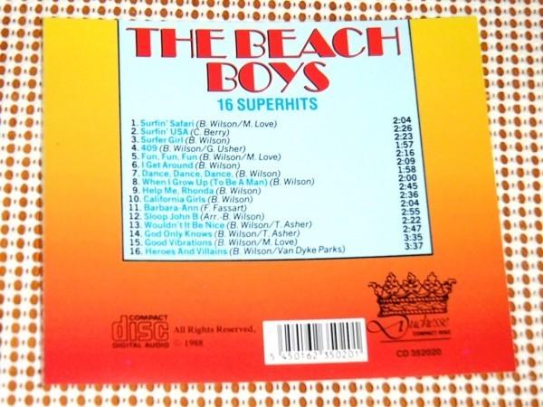 廃盤 The Beach Boys 16 Superhits ビーチボーイズ Surfin' USA God Only Knows Good Vibrations 等収録 良選曲 ベスト Brian Wilson