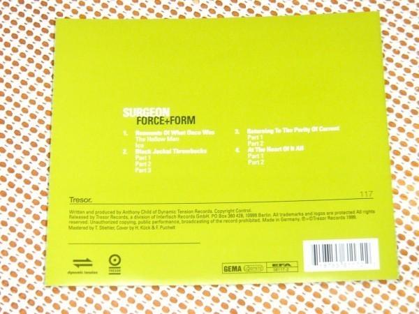 廃盤 Surgeon サージョン Force + Form / Tresor / Anthony Child 変名 UK 硬質 ミニマル テクノ 先駆者 / Thomas Stiehler マスタリング
