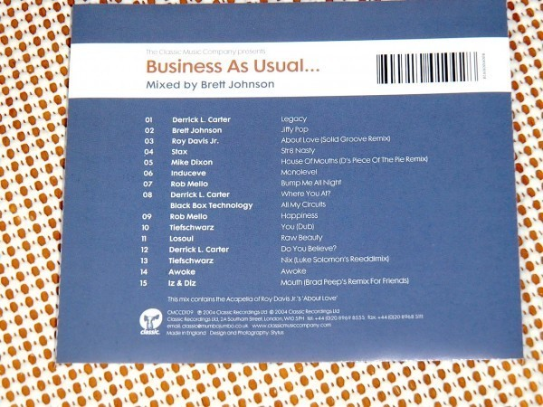 廃盤 Brett Johnson Business As Usual / Classic / Derrick Carter Tiefschwarz Rob Mello Roy Davis Jr. Stax Mike Dixon 等使用MIX