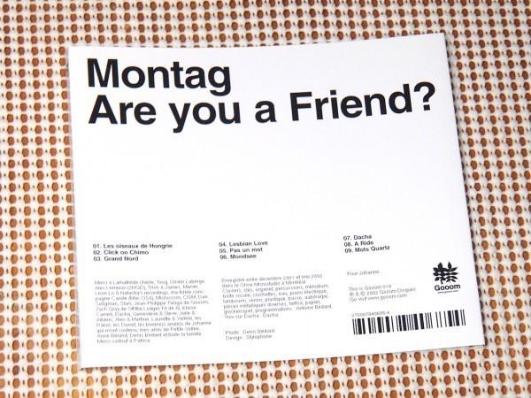 廃盤 Montag Are You A Friend ?/ Gooom / カナダ 優しい 内省 アンビエント IDM / Boards Of Canada や Dntel や BIBIO 好きにオススメ