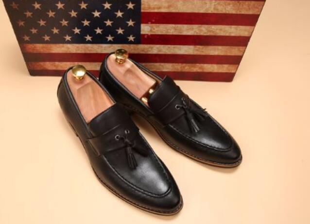 新品メンズ ビジネスシューズ ローファースリッポン ウォーキングシューズ カジュアル 革靴 紳士靴 通勤 黑26.5cm_画像3